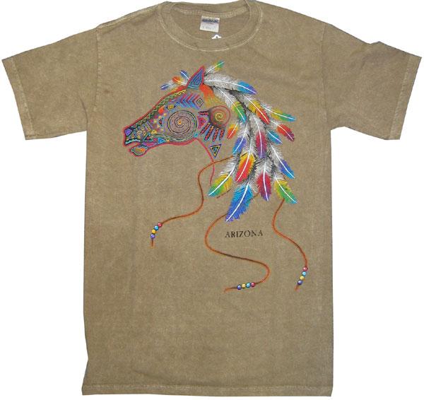 Tan Arizona T-Shirt,Horse and Feathers Design