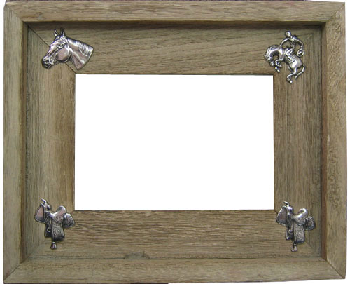 5 X 7 Weathered Wood Picture Frame Western Horse Accents